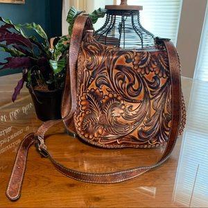 Patricia Nash Tooled Leather Saddle Bag